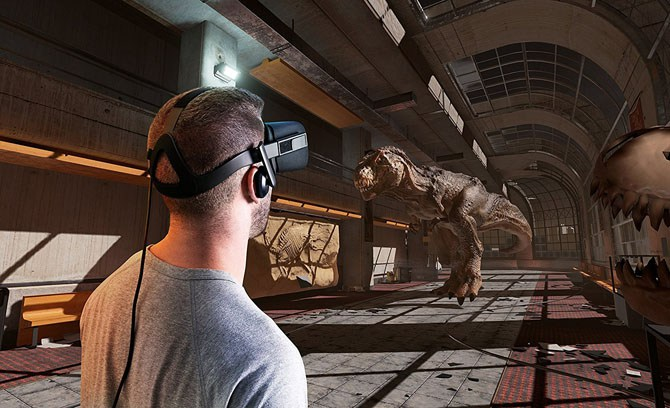 man playing T Rex computer game with VR headset on