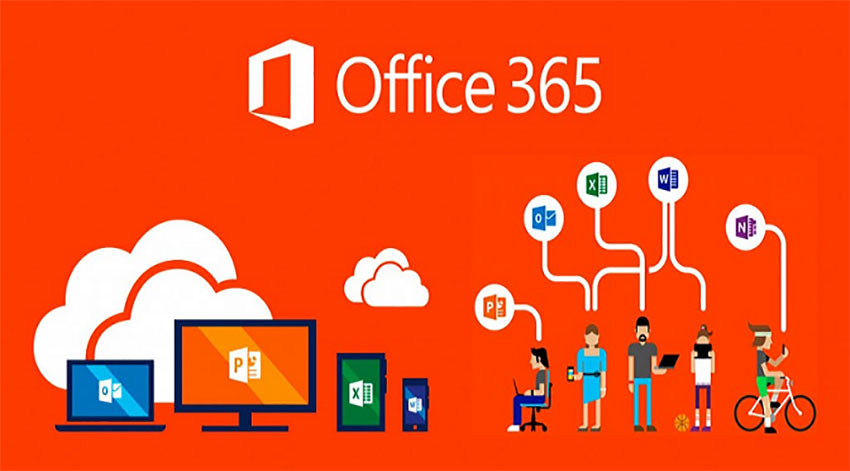 Microsoft Office 365 logo including Outook, Powerpoint, Excel and Word with cartoon people