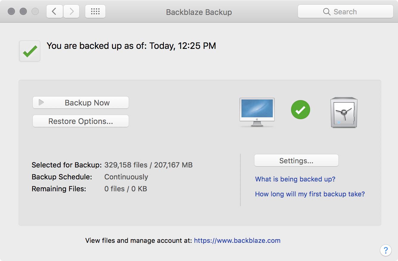 Backblaze backup screenshot