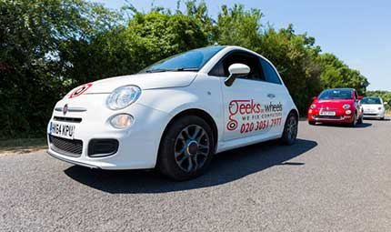 Geeks On Wheels Fiat 500 cars in a line up
